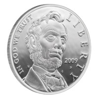 Abraham Lincoln stříbrná mince proof